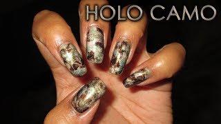 Holo Camo Smooshy Marble | DIY Nail Art Tutorial