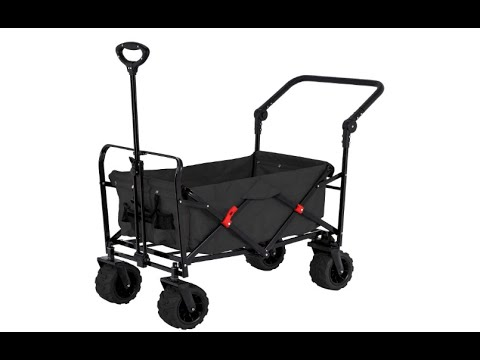 Black Wide Wheel Wagon All Terrain Folding Collapsible Utility Wagon with Push Bar - Overview