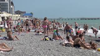 Сочи Лазаревское Пляж Купание в волну (4К полный экран)