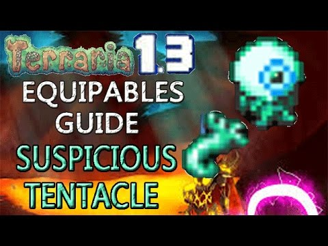 Terraria 1.3 Equipables Guide!: SUSPICIOUS LOOK TENTACLE! MOON LORD DROP! BEST LIGHT SOURCE!