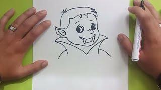 Como dibujar un niño vampiro paso a paso | How to draw a vampire child