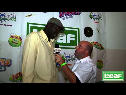 Olden Polynice of the LA Clippers interview with Brian Whitman at Leaf Brands booth