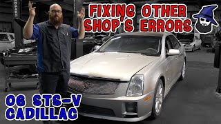 When shops break cars! The CAR WIZARD cleans up mess made on 06 STS-V Cadillac. Plus shop updates.