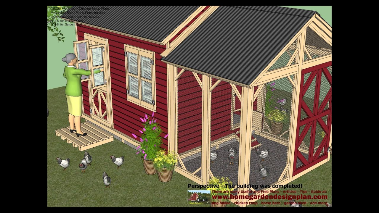Cb200 Combo Plans Chicken Coop Plans Garden Sheds