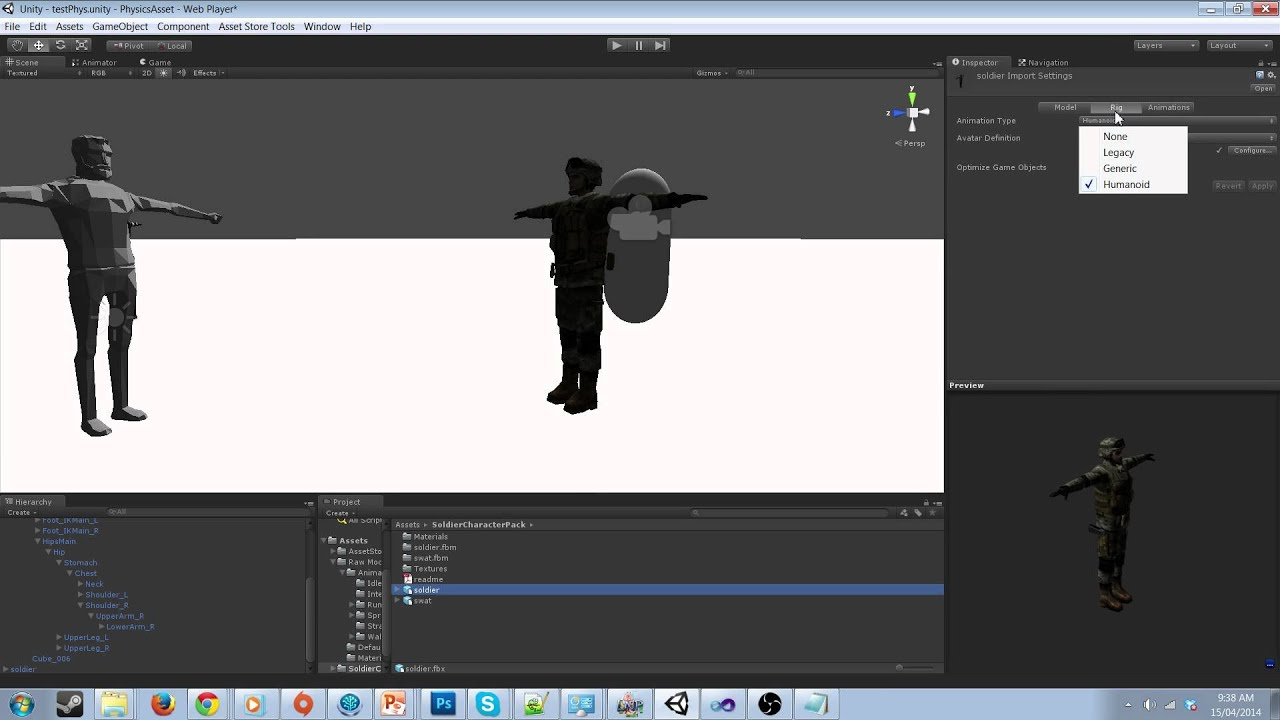 Unity Mecanim Ragdoll Animation Blender