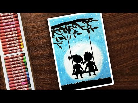LOVE Young Cute Couple Moonlight Scenery Drawing With OIL PASTELS - Step by Step FOR KIDS