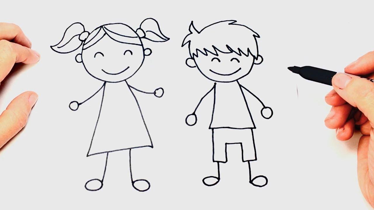 Como Dibujar Un Ninos Paso A Paso Dibujo Facil De Ninos Youtube