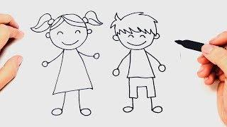Cómo dibujar un Niños paso a paso   Dibujo fácil de Niños