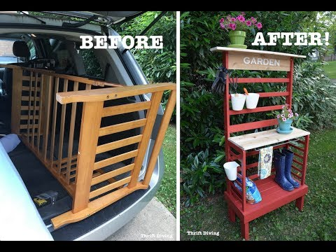 How to Repurpose a Toddler Bed Into a Potting Bench! - Furniture Makeovers - Thrift Diving