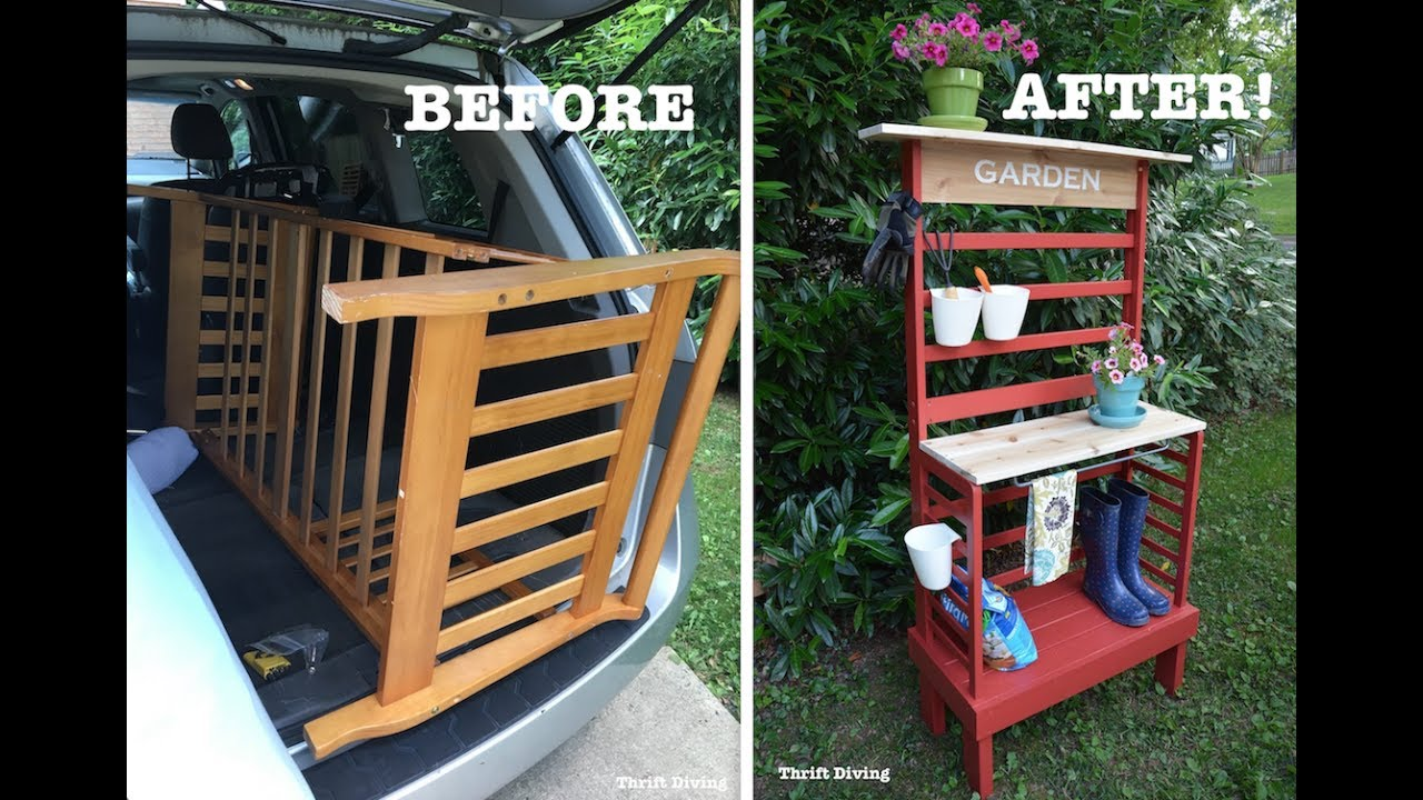 How to Repurpose a Toddler Bed Into a Potting Bench ...
