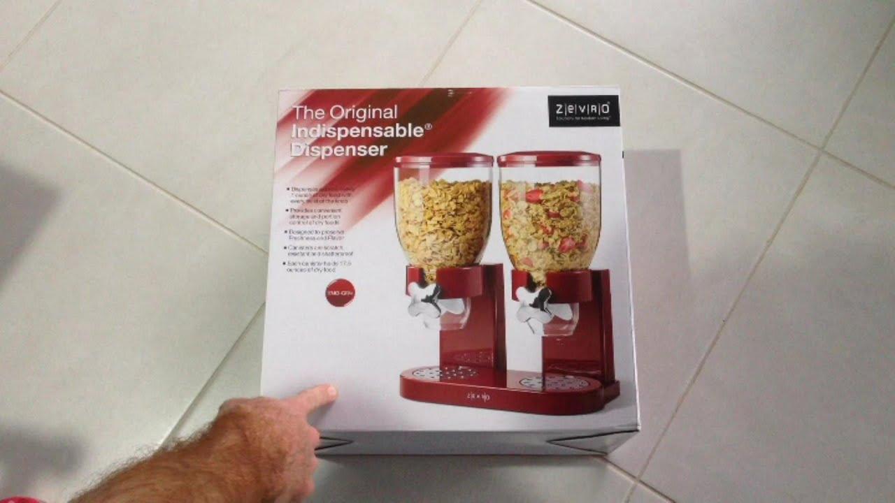 Dispenser Triplo per Alimenti secchi Cereali Farina davena SHINE Noci Nero 3 in 1