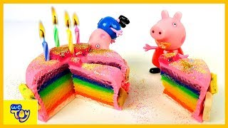 Learn Colors Playdoh. Making the Rainbow Cake with the Peppa Pig family - Fun Video For Kids | WeToy
