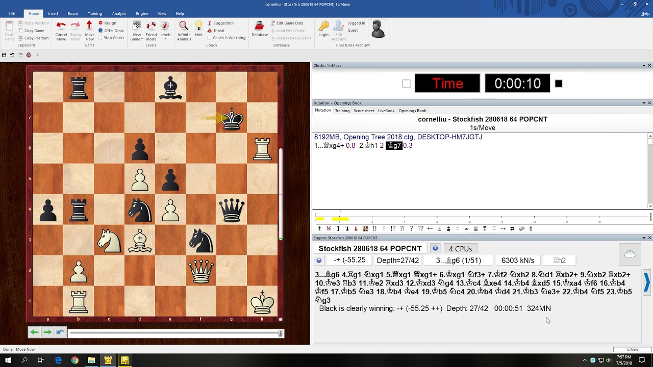 Stockfish 9 needed to calculate 600 million moves to see the checkmate