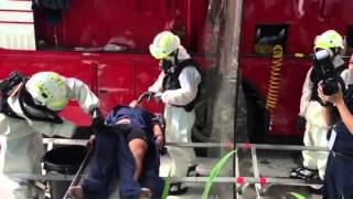 Exercise Heartbeat: Decontamination carried out outside One Marina Boulevard