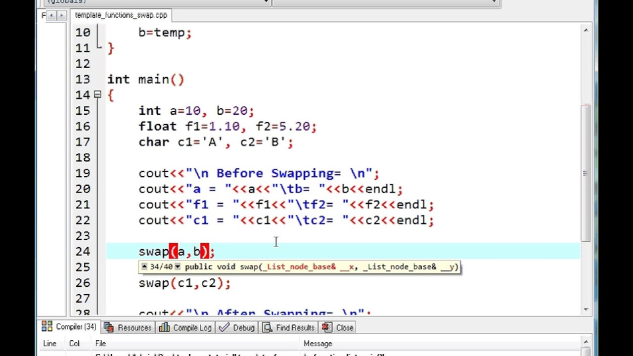 Function Template In C Part 2 Youtube