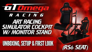 GT Omega ART Racing Simulator Cockpit w/ Monitor Stand Unboxing, Setup & First Look! (RS6 Seat)
