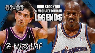 Michael Jordan vs John Stockton Highlights Wizards vs Jazz (2002.11.14)-36pts, 12ast Total, LEGENDS!
