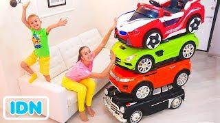 Pengemudi Sulap Kecil dengan Mobil Mainan dan Mengubah mobil untuk anak anak
