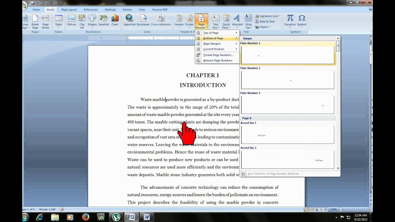 microsoft word how to add page numbers