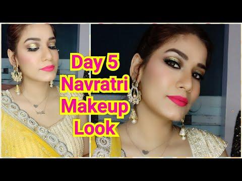#NavrangiNavratri Day 5  Brown Halo Glittery Eyeshadow 💛 Yellow Dress Makeup Look MakeupLoverSejal thumbnail