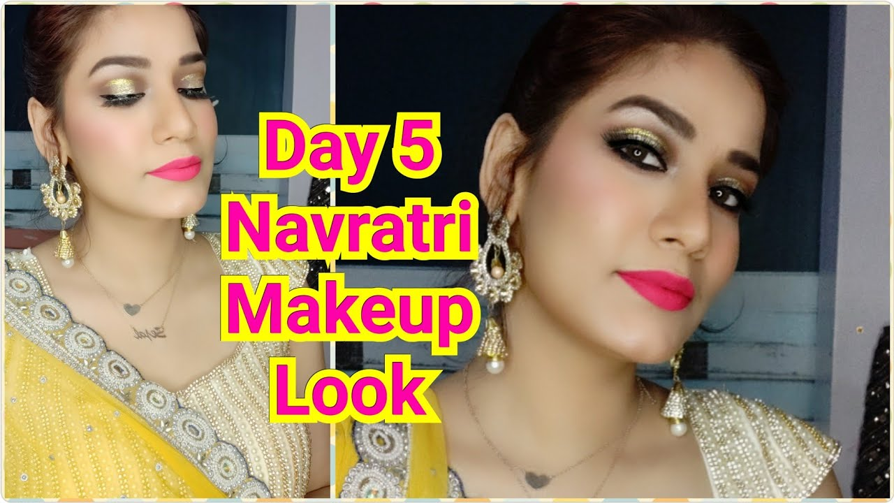 Brown Halo Glittery Eyeshadow Navranginavratri Day 5 Yellow Dress Makeup Look Makeuploversejal Youtube