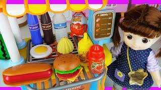 Baby Doll and food cooking car toys shop play story - ToyMong TV 토이몽