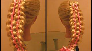 Коса пятипрядная с двумя лентами. Видео-урок.