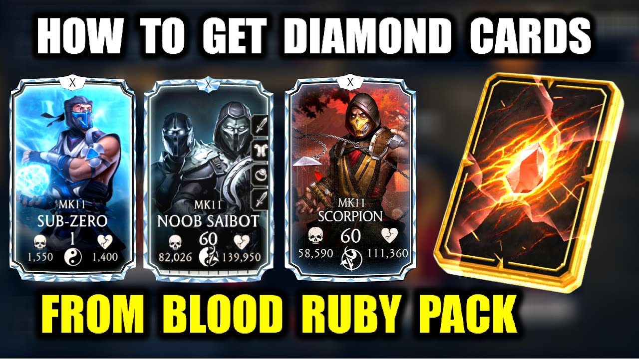 Mortal Kombat Mobile Trick  How To Get Diamond Cards  Blood Ruby Pack  How  To Get Injustice 2 Raiden