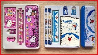 Đồ chơi trẻ em, hộp dụng cụ học tập 9 món Đôraêmon, Kitty có hộp bút, sổ tay, thước, gôm..Chim Xinh