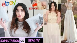 TRYING ON $1 PROM DRESSES FROM EBAY *DISASTER* (BLOOD ON THE DRESS)