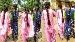 Two long hair girl student braid style