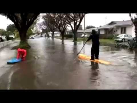 Watch  Surf's Up in Long Beach CA Streets After Storm