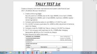 Tally Test first question pepar (part 1)