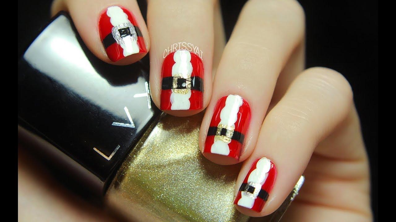 Santa suit nail art youtube prinsesfo Choice Image