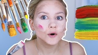 FULL FACE OF MAKEUP USING ONLY PAINT!🎨