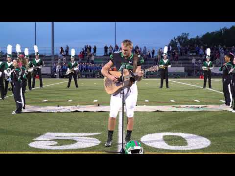 Jamie Martin - HS Football player delivers epic National Anthem!