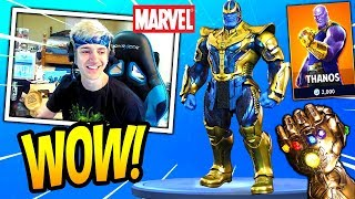 NINJA REACTS TO *NEW* THANOS SKIN + INFINITY GAUNTLET MODE IN FORTNITE! Fortnite SAVAGE Moments