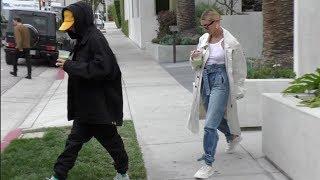 Justin Bieber and Hailey Bieber Grab 'Cha Cha Matcha' in Los Angeles