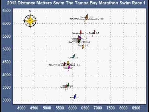 2012 Tampa Bay Marathon Swim tracking map