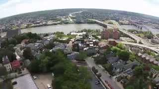 Aerial Video of Mt. Adams and Downtown Cincinnati, OH.