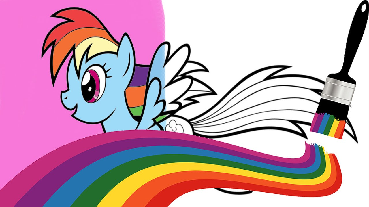 colorindo a rainbow dash my little pony coloring page youtube
