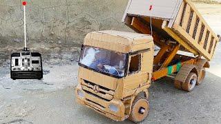 صنع شاحنة قلاب من الكرتون # مرسيدس اكتروس لعبه تعمل بالريموت # كيف تصنع العاب