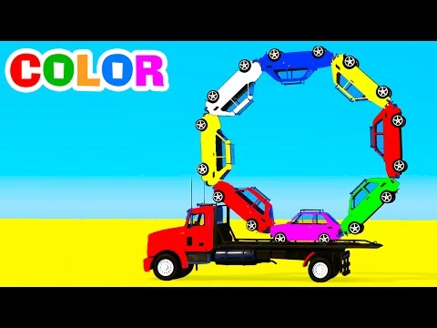 Color Cars on Truck & Spiderman in Superheroes Cartoon 3D - Colors for Kids and Babies