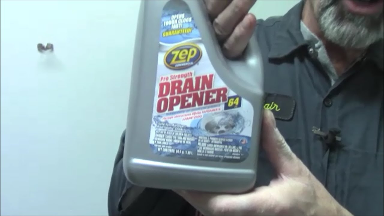 Sink clog cleared with liquid Zep drain opener - YouTube