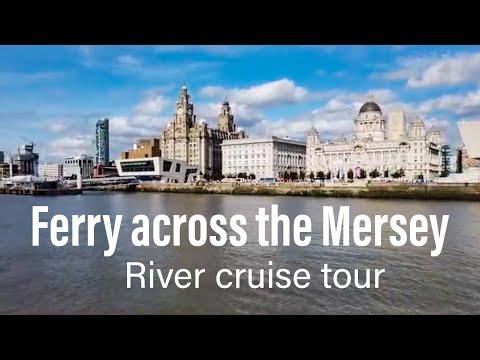 Liverpool Ferry across the Mersey tour river cruise Pier head city skyline England UK
