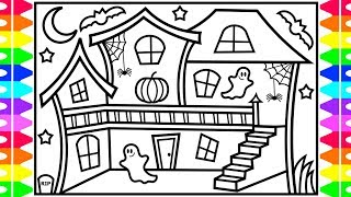 How to Draw a Halloween House for Kids 👻💜🖤💚🎃Halloween House Drawing and Coloring Pages for Kids
