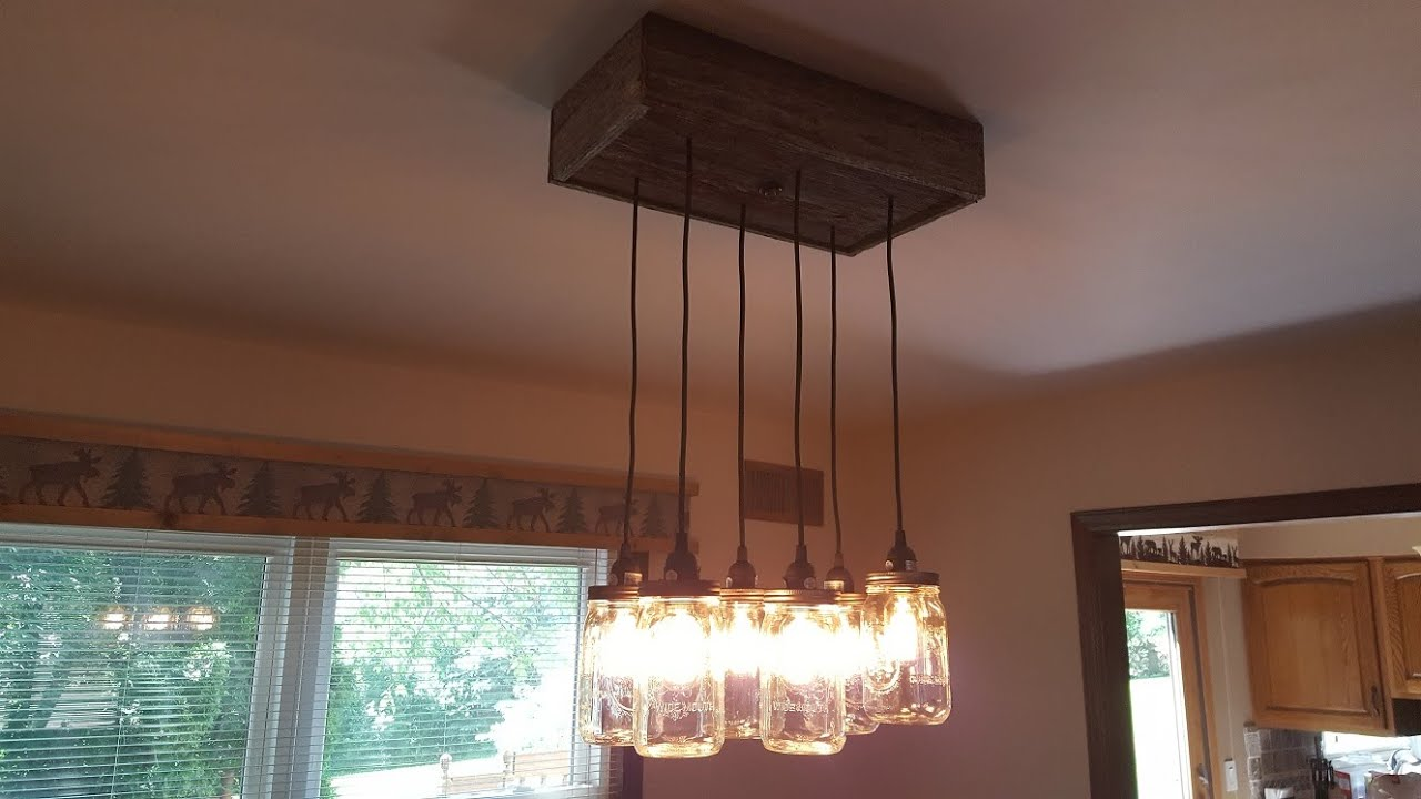 How to create a mason jar chandelier using reclaimed barn board how to create a mason jar chandelier using reclaimed barn board youtube arubaitofo Image collections
