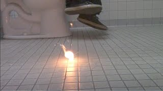 Bathroom Prank- Fire Scare prank in public Bathroom Prank! Lighting...
