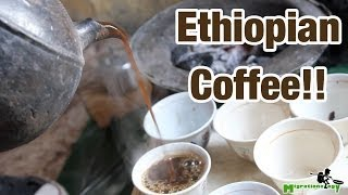 Drinking Ethiopian Coffee in Addis Ababa