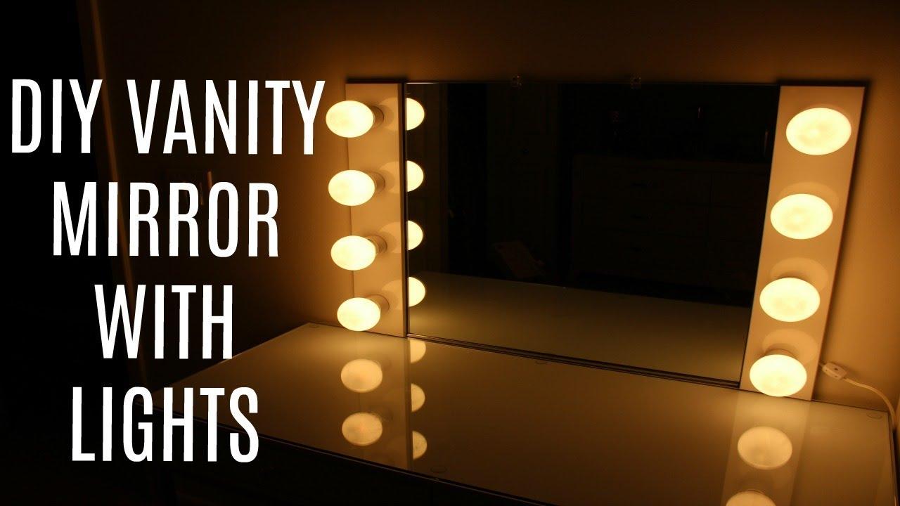 diy vanity mirror with lights under 100 emsbeautycorner youtube. Black Bedroom Furniture Sets. Home Design Ideas